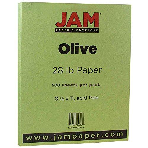 JAM Paper 8 1/2 x 11 Paper - 28 lb Olive Green - 500 Sheets per Ream