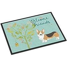 Caroline's Treasures Welcome Friends Pembroke Welsh Corgi Tricolor Doormat, 24hx36w, Multicolor