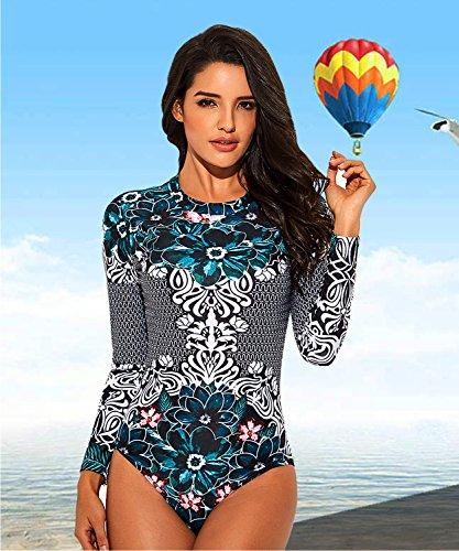 Funnygirl-Womens-Rashguard-Long-Sleeve-Zip-UV-Protection-Print-Surfing-Swimsuit-Swimwear-Bathing-Suits