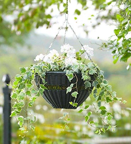Plow & Hearth Easy Care Resin Wicker Hanging Basket, in Black