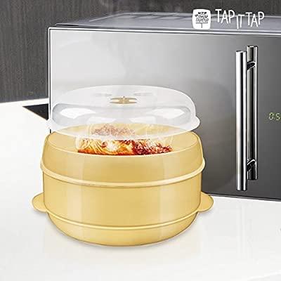 Appetitissime Tap It Vaporera para Microondas, Crema, 22 x 22 x 17 cm