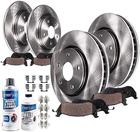 Detroit Axle – All (4) Entrance and Rear Disc Brake Equipment Rotors w/Ceramic Pads w/{Hardware} & Brake Equipment Cleaner & Fluid for 2003 Lexus ES300 – [2004 2005 2006 Lexus ES330]