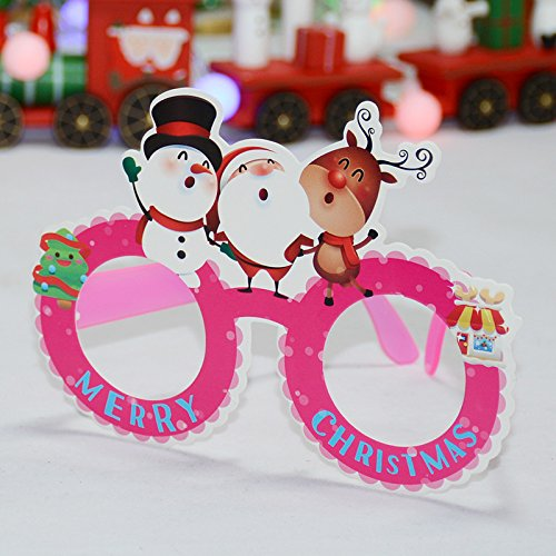 Christmas Glasses Elderly Snowman Elk Decorations Children's Party Makeup Party Performance Supplies Cartoon glasses A (pink)