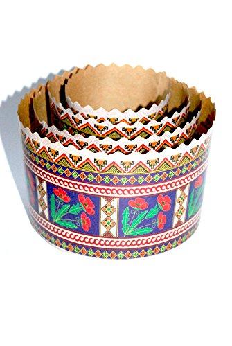 Easter bread baking parchment forms Poppy. Set of 4 various sizes. Ukrainian design