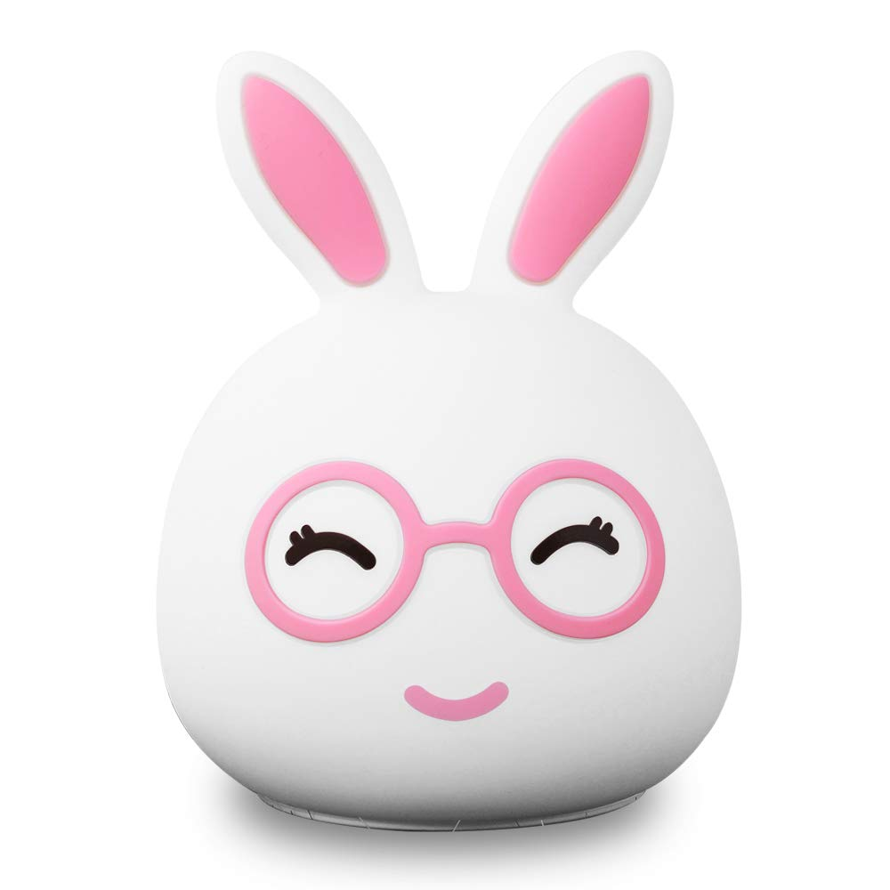 Night Light for Kids, Rabbit LED Baby Night Light, Cute Multicolor Silicone Soft Nursery Lamp for Children Toddler Boys Girls Room Decor, Tap Control, White & 7 Colors Change Breathing (Pink 02)
