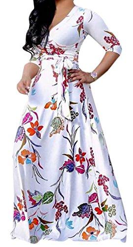 Della 3 Elegante Con Cromoncent Alta Womens Manicotto Stampa Floreali Abito Bianco 4 Maxi Cintura Vita 8Y5nvq