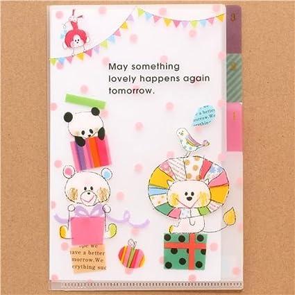 Mini carpeta plástico 3 apartados animales regalo león panda ...