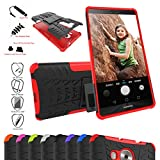 Huawei Mate 8 Case,Mama Mouth Shockproof Heavy Duty Combo Hybrid Rugged Dual Layer Grip Cover with Kickstand For Huawei Mate 8 Smartphone(With 4 in 1 Free Gift Packaged),Red