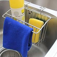 Romani Tech Sink Caddy, Kitchen Stainless Steel Sponge Holder Towel Scrubbing Cloth Brush Soap Dishwashing Liquid Drainer Rack