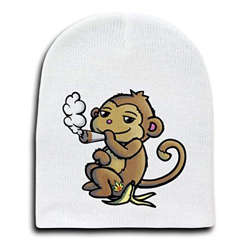 Pot Smoking Pals Monkey - White Adult Beanie Skull Cap Hat - Brownie Beanie