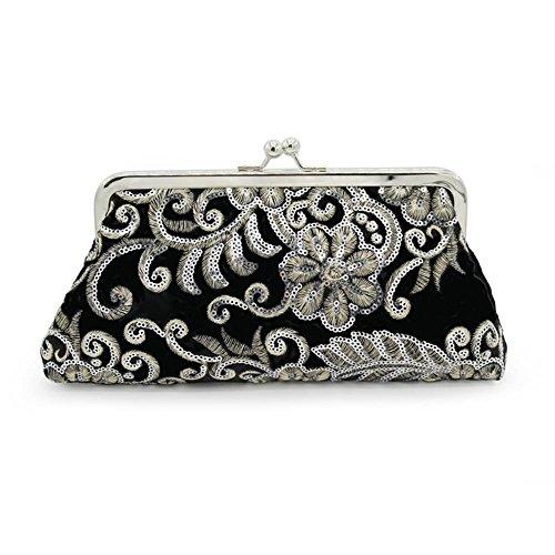 Kingluck The Evening Bags Women Clutch Bags embroidering Wedding Bridal Handbag Pearl Beaded Lace Rose Fashion Rhinestone Bags (black)