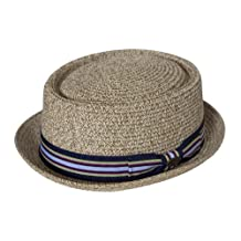Straw Boater Hat w/ Blue Band, Natural Large/X-Large