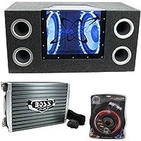 Pyramid BNPS122 121200W Car Audio Subwoofer + Box + 1500W Mono Amp + Amp Kit