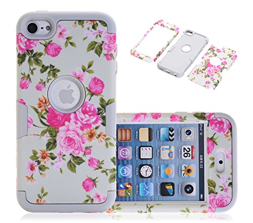 iPod Touch 6 Case, CexCob Rose Flowers Impact Resistant 3 in 1 Hybrid Soft Silicone & Hard Plastic Armor Combo Case for Apple iPod Touch 6th Generation, Grey - Combo Ipod