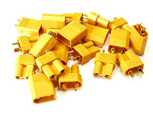 WST 10 Pairs XT30 2mm Golden Connector LiPo Battery Plug Set Male and Female Connectors for RC Hobby Airplane Helicopter Multicopter (Gold 2 Mm Slip)