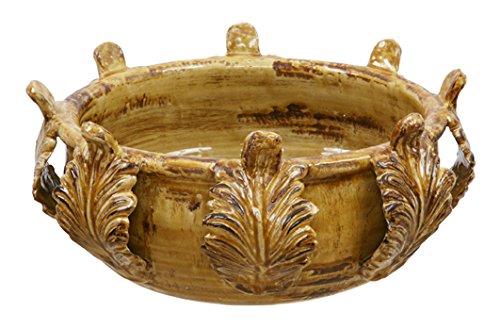 Winward Silks Acanthus Bowl, 19-Inch Diameter, Mustard Yellow