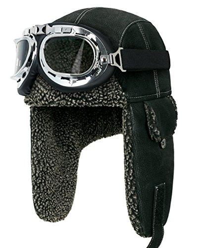 Howels Faux Leather Vintage Aviator Trapper Trooper Ear Flaps Hat With Faux Fur (Medium, Black/Silver)