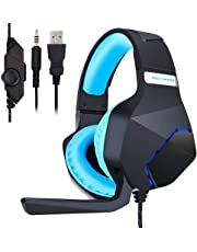 Gaming Headset with Mic for PS4 Xbox One PC, Over Ear Headphones Gamer with Microphone Noise Canceling for Nintendo Switch Tablet Phone Computer Mac (Black)