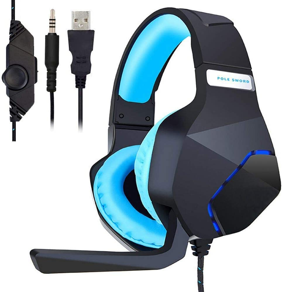 PC Gaming Headset for PS4 Xbox One, Onikuma 3.5mm Stereo USB LED Headphones with Omnidirectional Microphone, Volume Control for Computer Laptop Mac Playstation 4 by YSSHUI-Black Blue