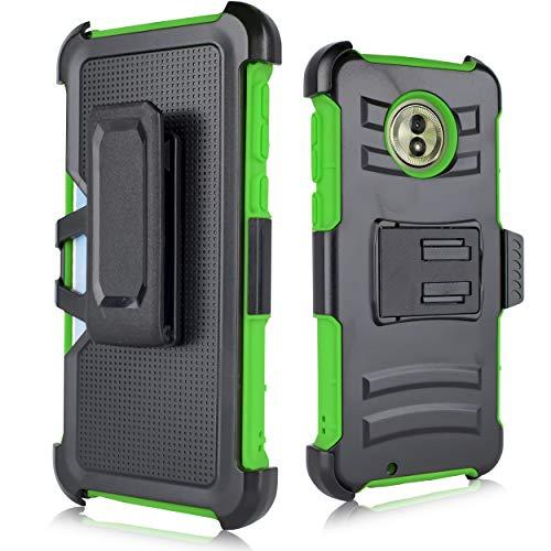 Moto G6 Rugged Case, [Heavy Duty] Armor Shock Proof [Swivel Belt Clip] Holster [Kickstand] Rugged Case for Motorola Moto G6 Black (Green)