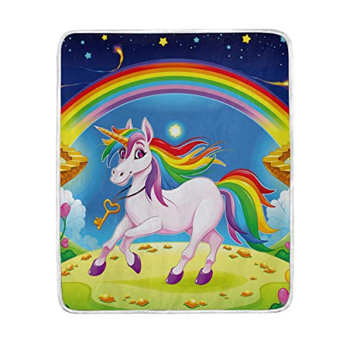 (Colorful Unicorn Rainbow Flower Stars Planet Soft Warm Throw Blankets Lightweight Velvet Short Plush Microfiber Blanket for Bed Couch Chair Sofa Travelling Camping 50'' x 60'')