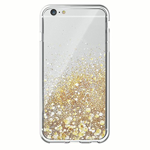 ONN Case for iPhone 6 Plus/6s Plus, Gold Cascade With Liquid Gold Glitter