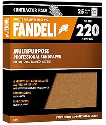 """Fandeli 36027 220 Grit Multipurpose Sandpaper Sheets, 9"""" x 11"""", 25-Sheet by Fandeli International Corporation"""