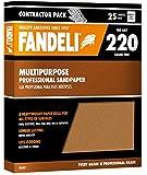 Fandeli 36027 220 Grit Multipurpose Sandpaper Sheets, 9''  x 11'', 25-Sheet