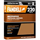 "Fandeli 36027 220 Grit Multipurpose Sandpaper Sheets, 9""  x 11"", 25-Sheet"