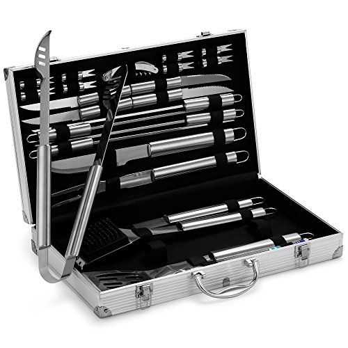 VonHaus 24-Piece Stainless Steel BBQ Accessories Tool Set - Includes Aluminum Storage Case for Barbecue Grill Utensils