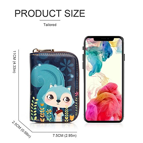 Leather Fox for Accordion Style Box Cartoon Gift for Purse Zipper Small Red Holder Wallet Women Blue Security Card ID Wallet Ladies Travel Genuine APHISONUK Case Card Squirrel RFID 015 Patterns with Pocket Credit S7PqCC5