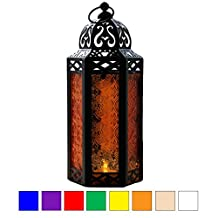 Mid Size Table/hanging Amber Glass Hexagon Moroccan Candle Lantern Holders
