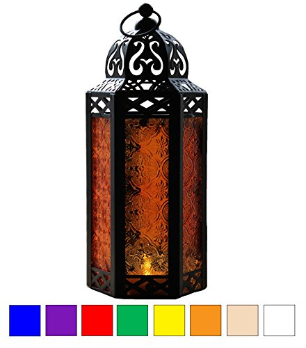 Amber Glass Moroccan Style Candle Lantern - Great for Patio, Indoors/Outdoors, Events, Parties and Weddings - Hanging Votive Lanterns