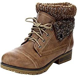 Refresh Wynne-01 Women's Combat Style Lace Up Ankle Bootie,Taupe,8