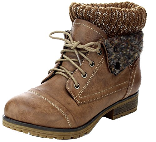 Refresh WYNNE-01 Women's combat style lace up ankle bootie,Wynne-01 Taupe 9