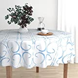 Round Tablecloth - Baby Boy Blue Geometric Boys Nursery Fabric Spa by Jenlats - Cotton Sateen Tablecloth 70in