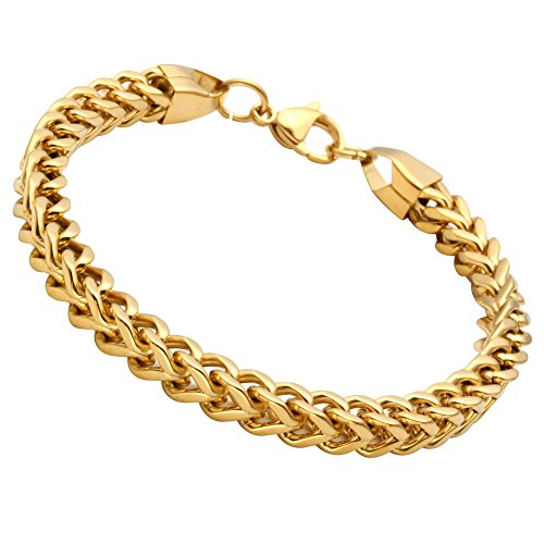 Franco Bracelet Chain Gold (Jusnova Stainless Steel Franco Chain Bracelet for Men Women 6mm Wide 8 Inches Gold Color)