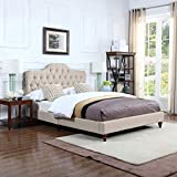 Divano Roma Furniture Classic Ivory Tufted Fabric Low Profile Bed Frame (Queen)