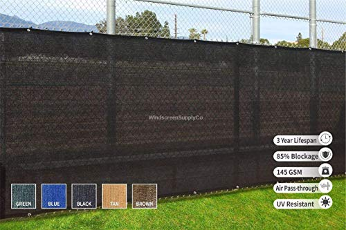 WindscreenSupplyCo Heavy Duty Fence Privacy Screen 6 ft. x 300 ft. Chain Link Fence Cover, Shade Cloth with Grommets (Black)