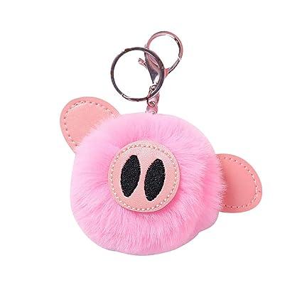Amosfun - Llavero con pompón, diseño de Cerdo, Color Rosa ...