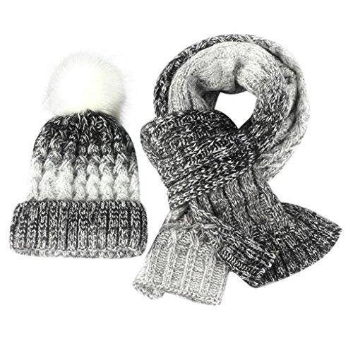 Goddessvan Autumn Winter Womens Knitted Beanie Hat Knitt Scarf +Cap Set (White) (Beanie Case Visor)