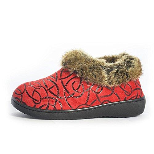 Eagsouni® Mujeres Mujer felpa Zapatillas De Estar Por Casa Interior Skidproof Algodón Zapatos Nieve Botas Rojo