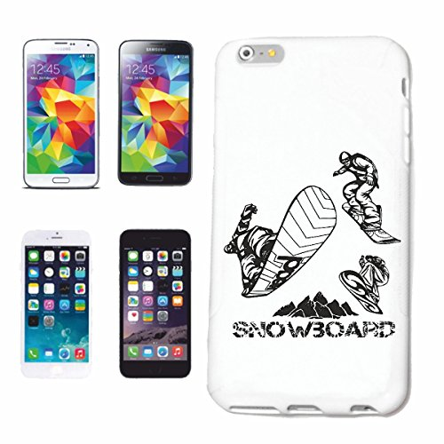 "cas de téléphone iPhone 6S ""SILHOUETTE SNOWBOARD SNOWBOARD RIDER SNOWBOARDER WINTER SPORT PISTES"" Hard Case Cover Téléphone Covers Smart Cover pour Apple iPhone en blanc"