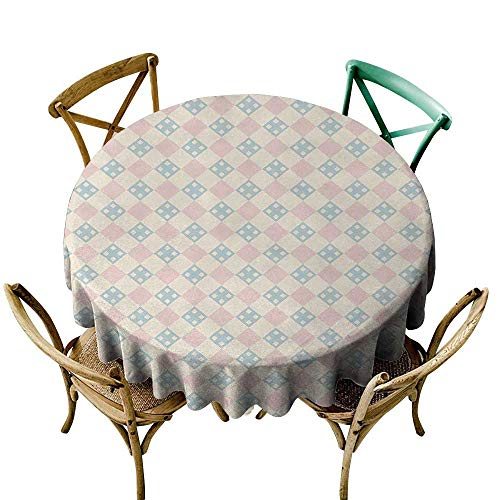 Wendell Joshua Small Round Tablecloth 48 inch Shabby Chic,Checked Pattern with Square Motifs Pastel Colors Vintage Tile,Cream Light Pink Light Blue Polyester Fabric Table Cloth