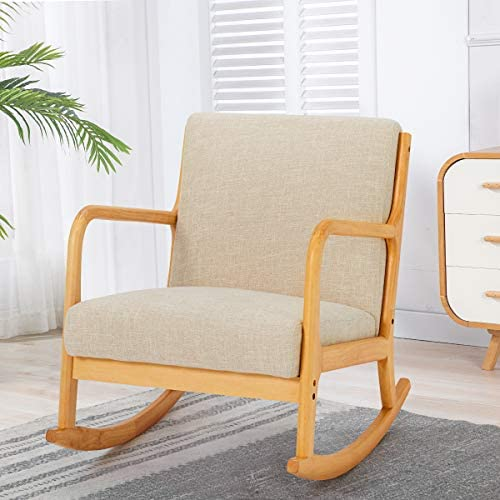 YOLENY Fabric Rocking Chair,Mid-Century Glider Rocker