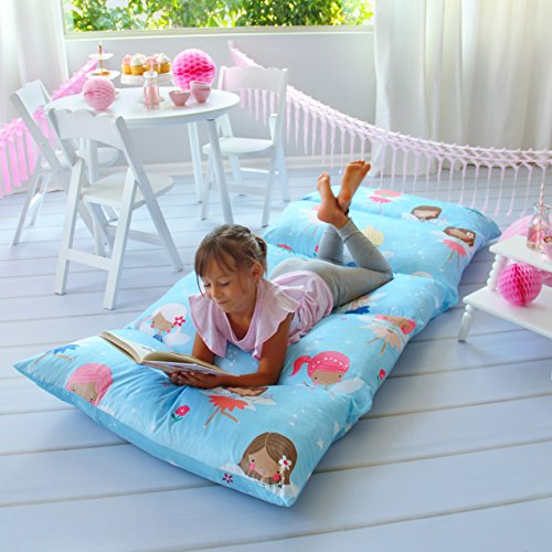 Kid's Floor Pillow Bed Cover - Use as Nap Mat, Portable Toddler Bed or inflatable air mattress alternative for Sleepovers, Travel, Napping, or as a Lounger for Reading, Playing. Cover (Kids Travel Pillow Pig)