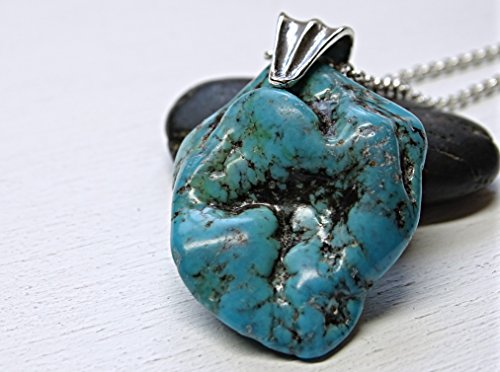 t silver, sleeping beauty turquoise necklace, turquoise nugget pendant, rustic mens necklace, mens turquoise necklace ()
