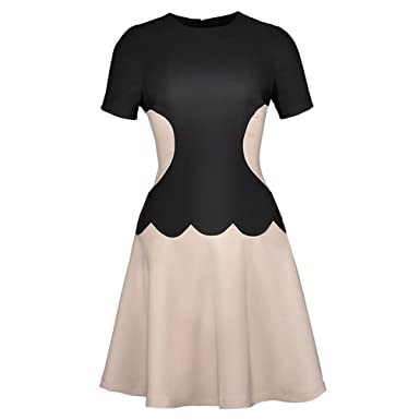 Xaviera Bloque Del Color Del remiendo Vestido de LAS Mujeres de LA vendimia 1950s Black S