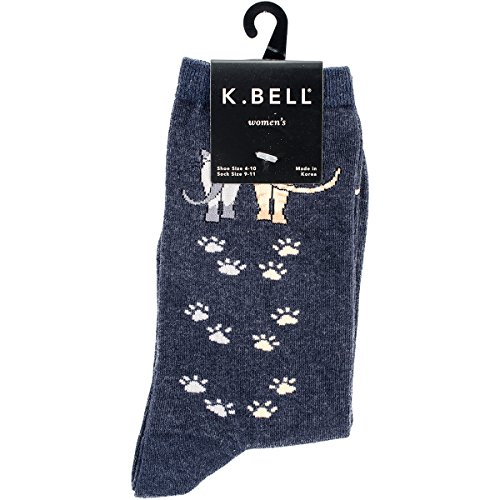 K. Bell Women's Cool Cats Fun Novelty Casual Crew Socks, Tracks (Denim), Shoe Size: 4-10