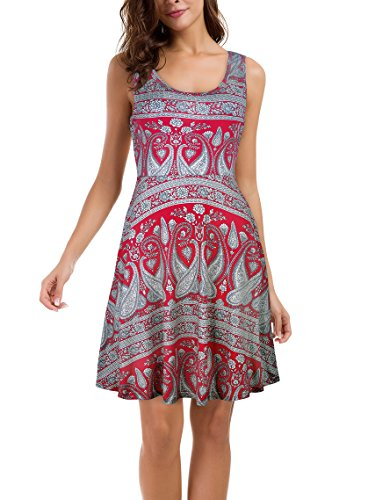 Line Slanted - Le Vonfort Women's Comfy Sleeveless Scoop Neck Swing A-line Dresses with Side Slanted Pockets Midi Dress Paisley Red X-Large